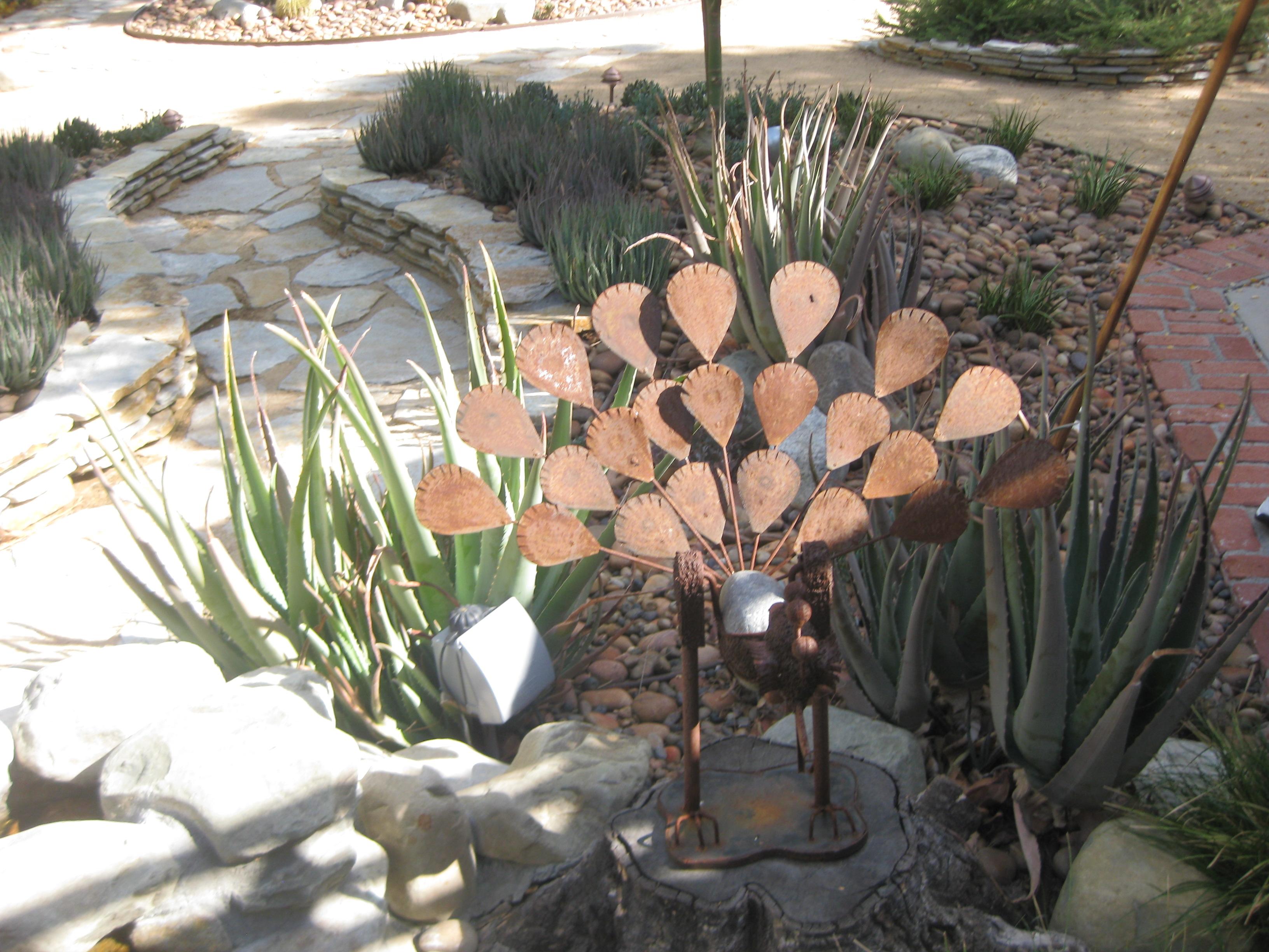 Ornaments for garden - Peacock Ornament In Succulent Garden